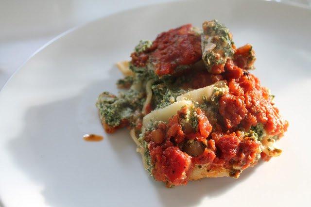 Lakselasagne med spinat og ricotta