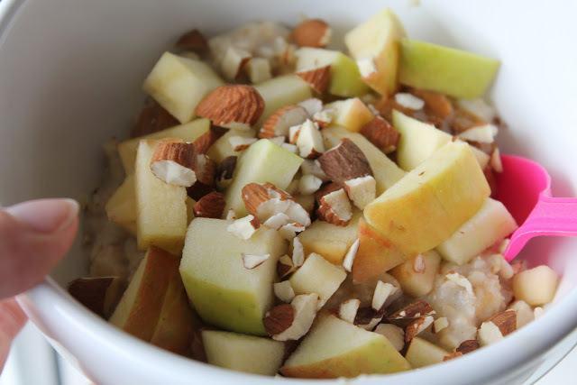 Havregrød med karamel, mandler og æbler 3