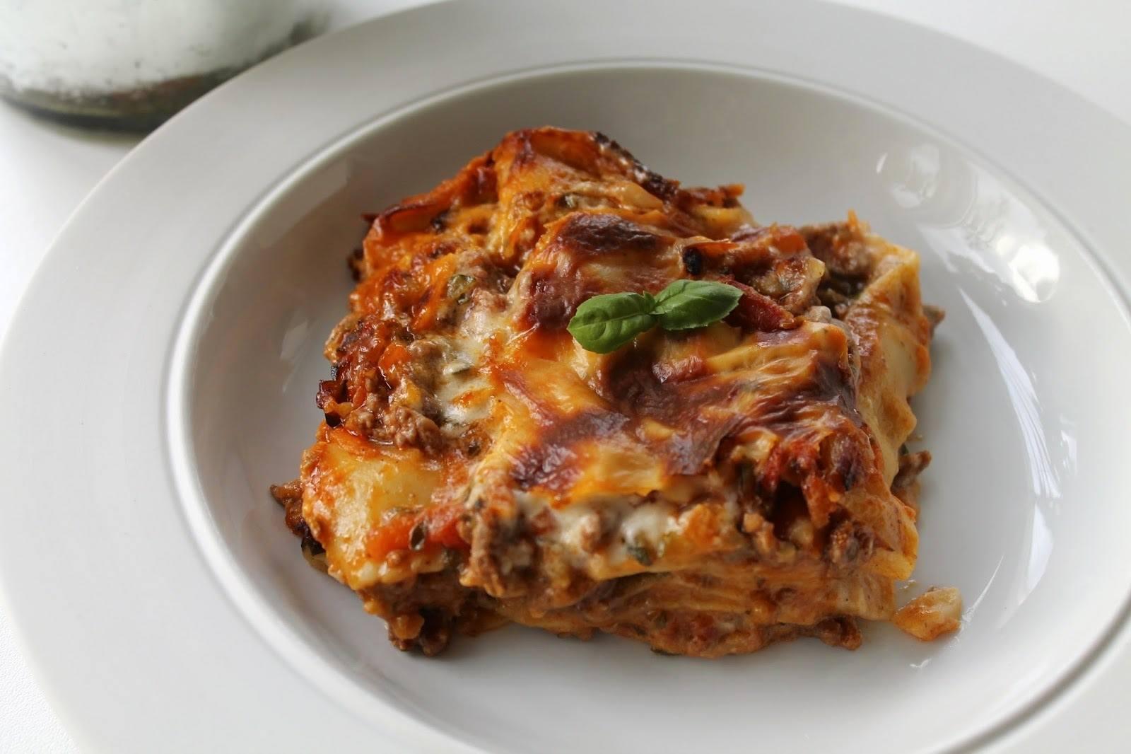 Lasagne med oksekød og grøntsager