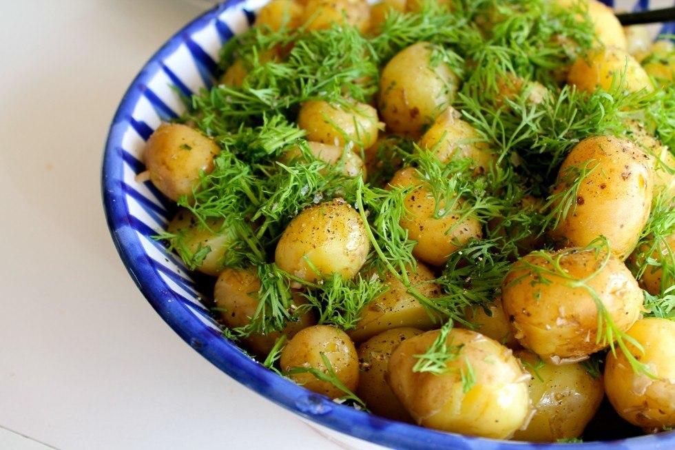Nye kartofler med olivenolie, citron og dild