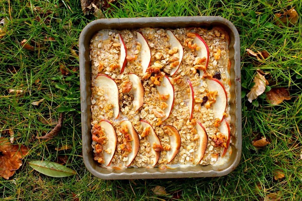 Bagt grød med æbler a la æblekage