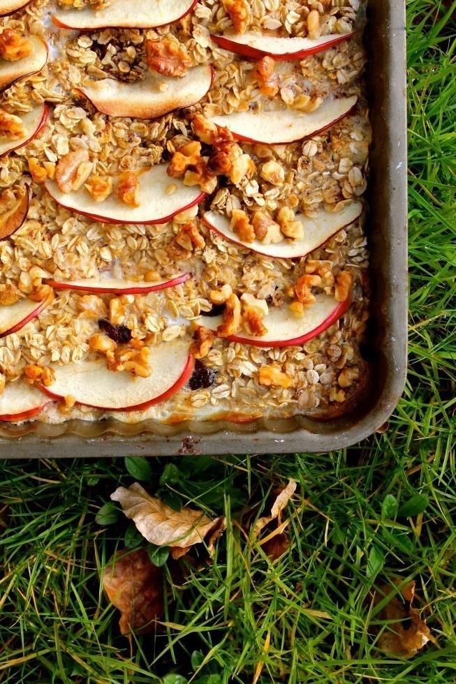 Bagt grød med æble a la æblekage