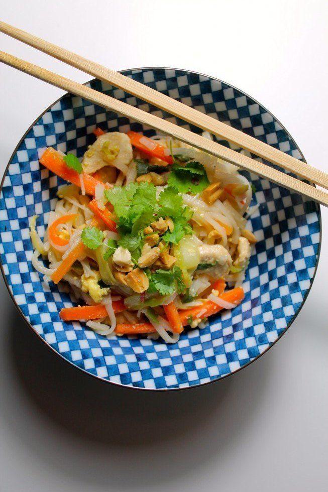 Pad thai med kylling