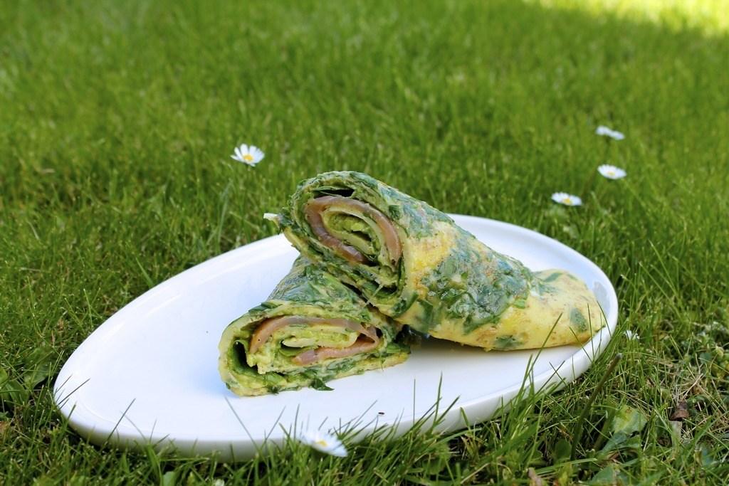 Æggewrap med laks, spinat og avocado