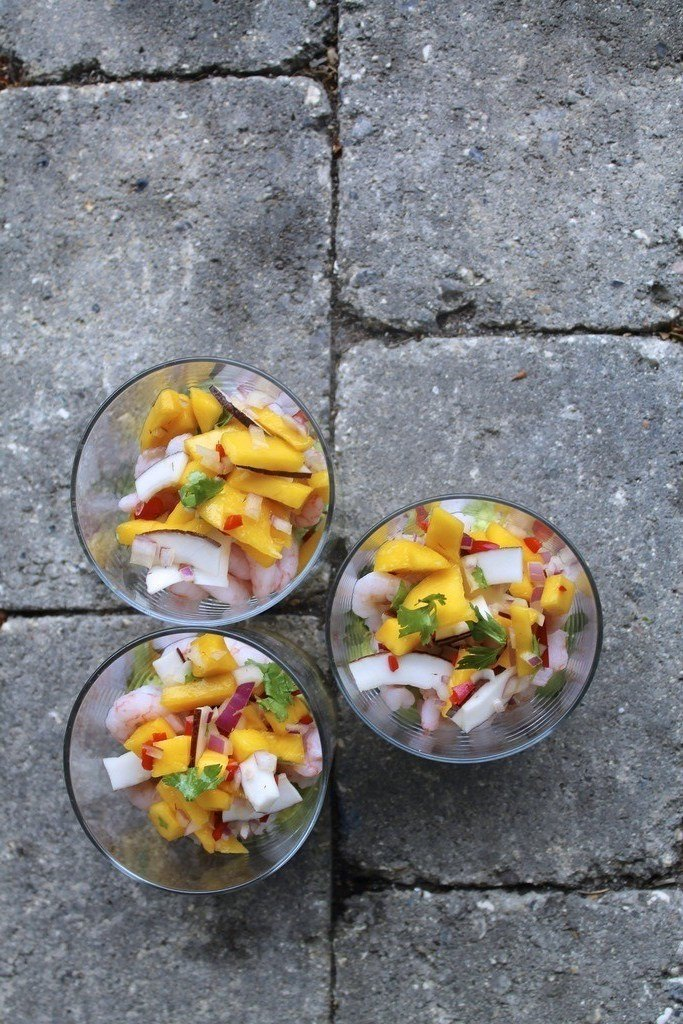 Asiatisk rejecocktail med avocado, mango og kokos