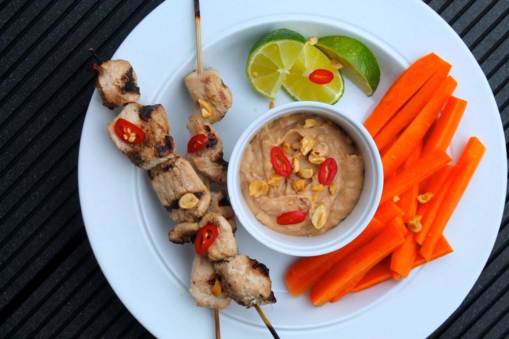 Kyllinge satay med peanutsauce
