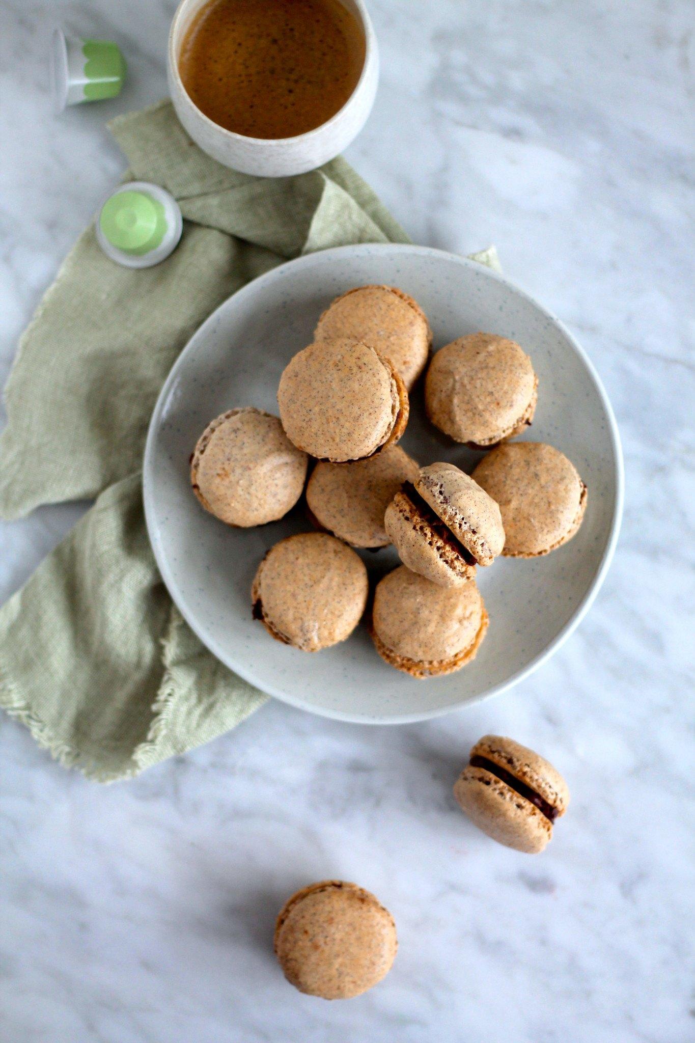Macarons med kaffe og chokoladeganache