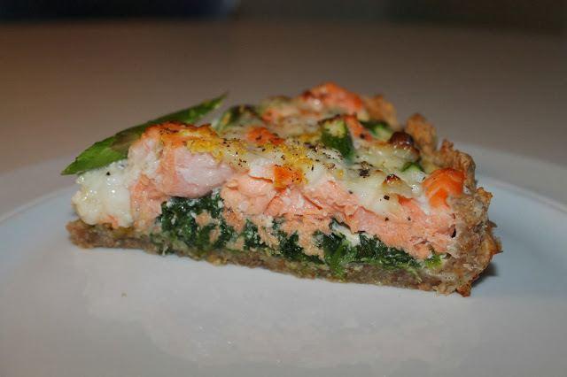 Laksetærte med spinat og asparges 7