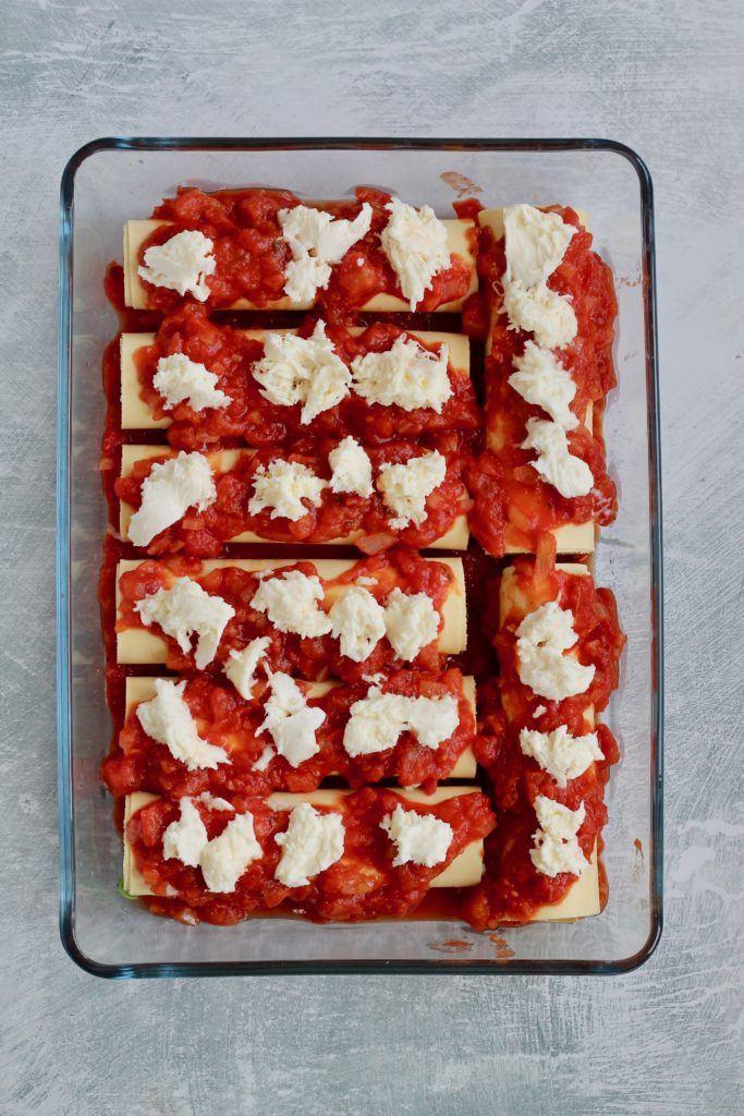 Cannelloni med spinat, feta og parmaskinke