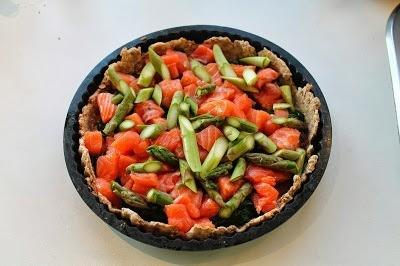 Laksetærte med spinat og asparges 1