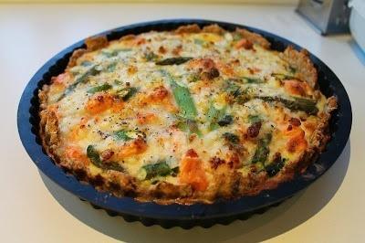 Laksetærte med spinat og asparges 5